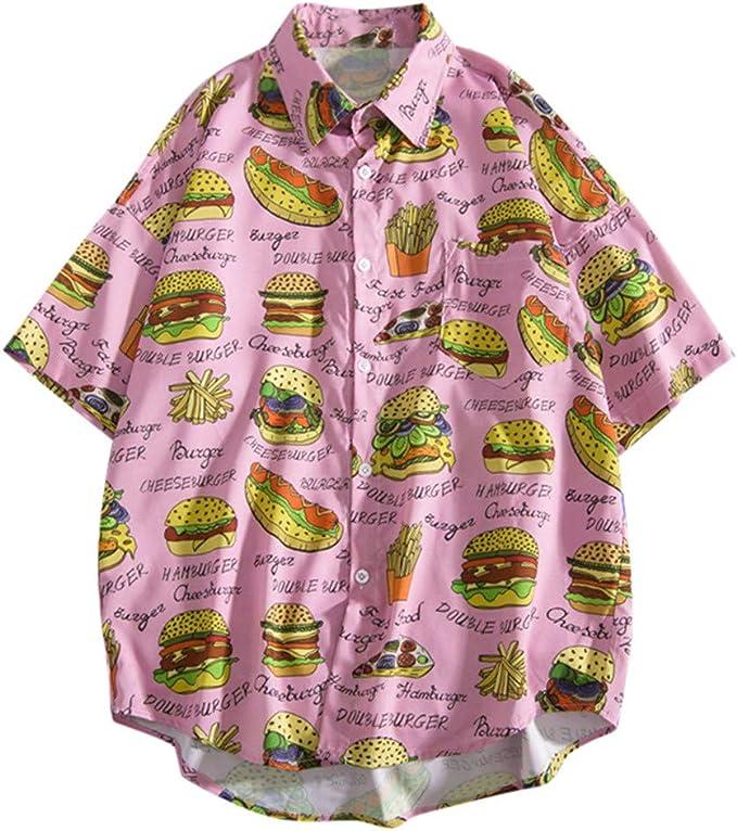 CAOQAO- Hamburguesa para Hombre Perrito Caliente Impreso Camisa de Manga Corta Camisas de Moda de Verano Casual Tops de Playa Blusa Informal Suelta: Amazon.es: Ropa y accesorios