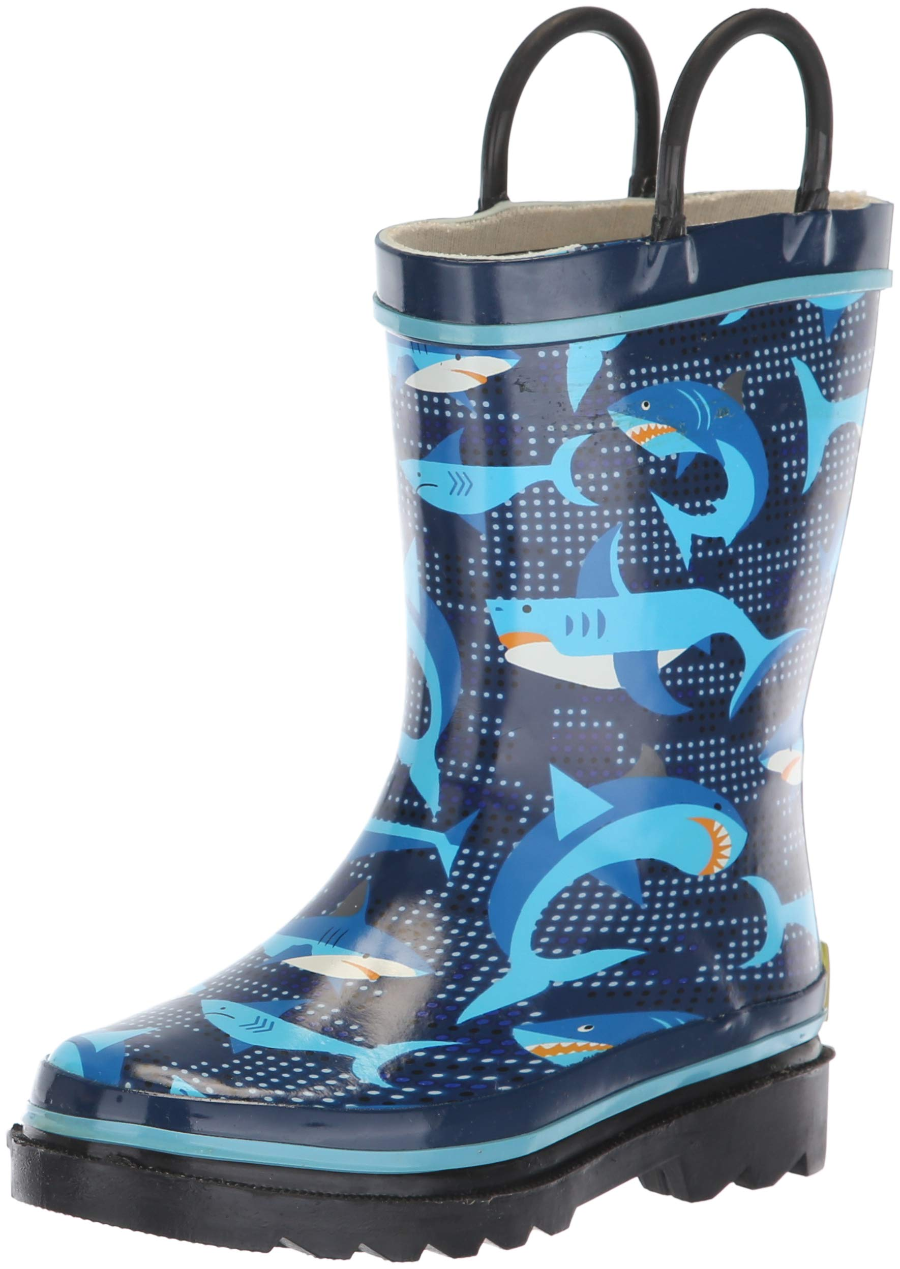Western Chief Boys' Waterproof Printed Easy Pull on Handles Rain Boot, Pixel Shark Camo, 8 M US Toddler
