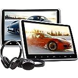 eonon 25,7cm LCD poggiatesta lettore DVD portatile DVD poggiatesta monitor per auto digitale touch screen poggiatesta lettore DVD con digitale touch Button HDMI USB SD Port + cuffie IR Combo C1100A
