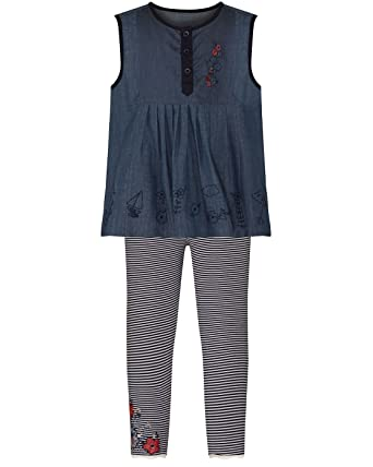 15f0ddc5a9871 The Essential One - Baby Kids Girls Denim Mouse Blouse & Stripe Leggings  Set - Pink