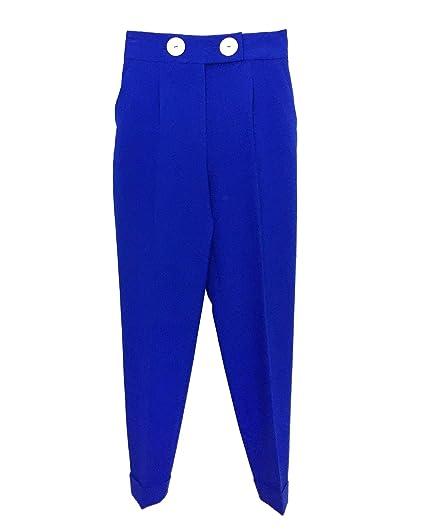 fa0e9562 Amazon.com: Zara Women High Rise Buttoned Trousers 2257/783 Blue ...