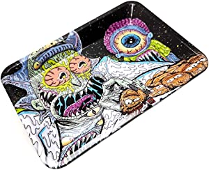 Metal Tray, Household Tray, Convenient Tray, Rolling Box, Multicolor, Square-Funky and Cool Pattern Design