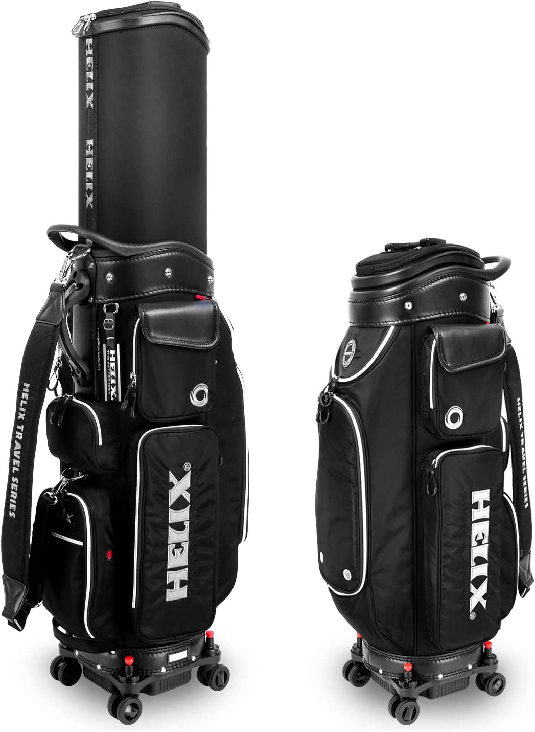 Helix-Golf Golf Stand Bag, Easy to Carry, Retractable Sunday Golf Bag with Locking Wheels Chassis and Latest Integrated Handgrip.