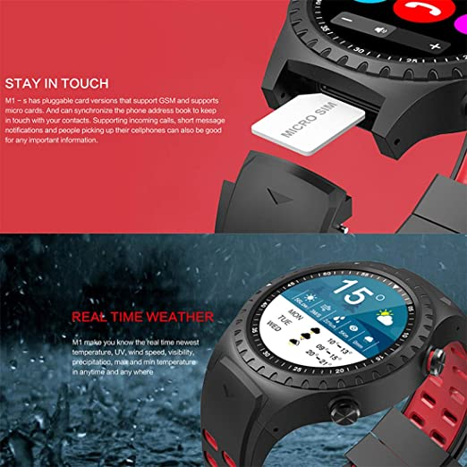 Amazon.com: Smart Watch M1 IP67 Waterproof Support Micro SIM Card Bluetooth Dial Call Heart Rate Monitor GPS Watch Sports Smartwatch,Blue: Electronics