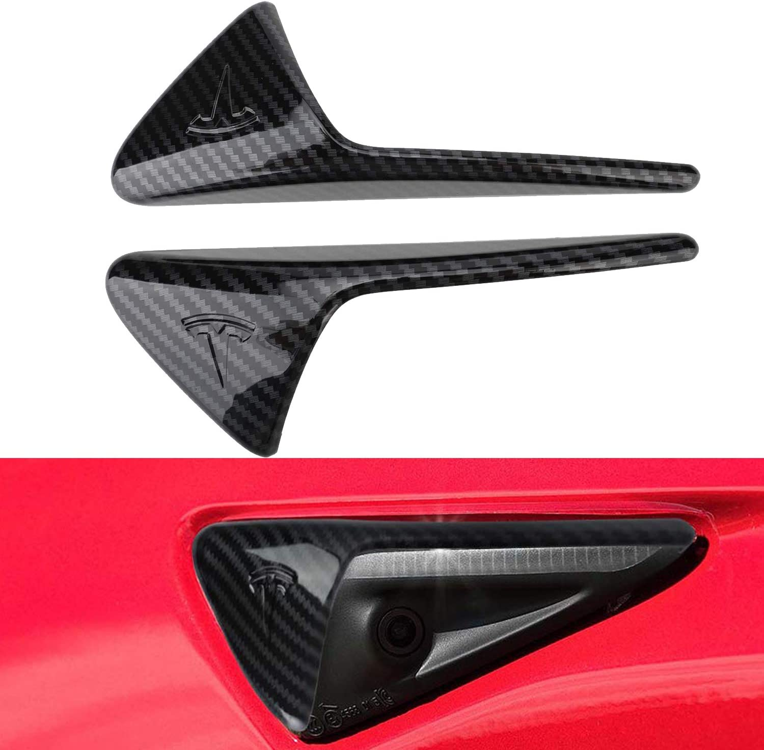VXDAS 2 Pack T esla Model 3 Turn Signal Indicator Cover for T-esla Model 3 S X Autopilot 2.0-3.0 Real Carbon Fiber Side Markers Turn Signal Covers Perfect Fitment