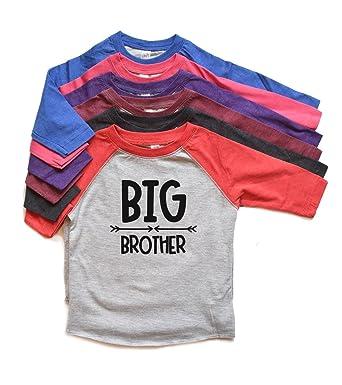 b027f82b4d Amazon.com: Big Brother Raglan Shirt Toddler Boy Tee New Baby Annoucemnet  tshirt New Sibling Trendy Heads Up Shirts: Clothing