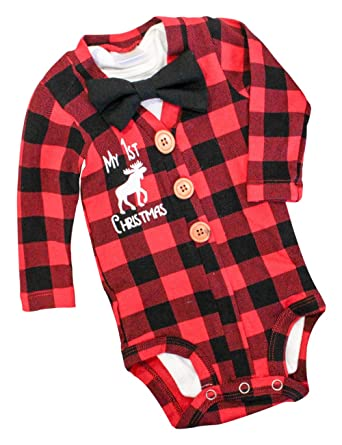 Newborn Baby Boys Girls Christmas Plaid Cardigan Romper Christmas Outfit  with Moose Embroidery 2Pcs Outfit Set - Amazon.com: Newborn Baby Boys Girls Christmas Plaid Cardigan Romper
