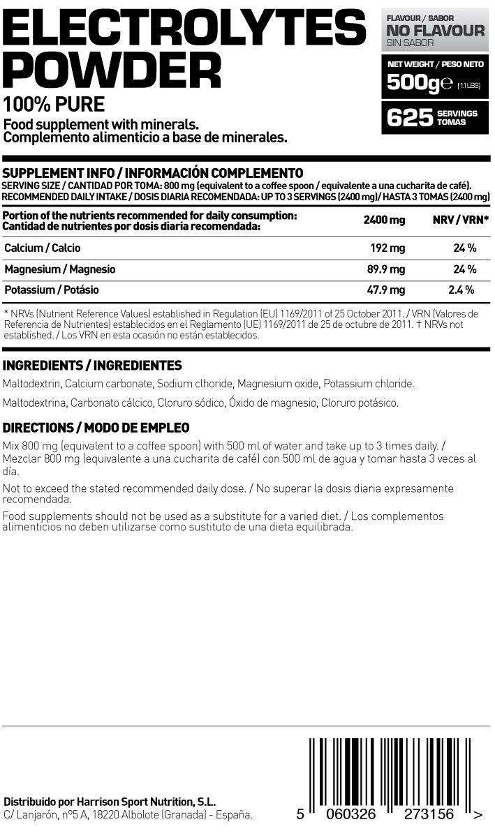 HSN RAW - Electrolitos en Polvo para la Hidratación y Recuperación Sales Minerales - 500 gr: Amazon.es: Salud y cuidado personal