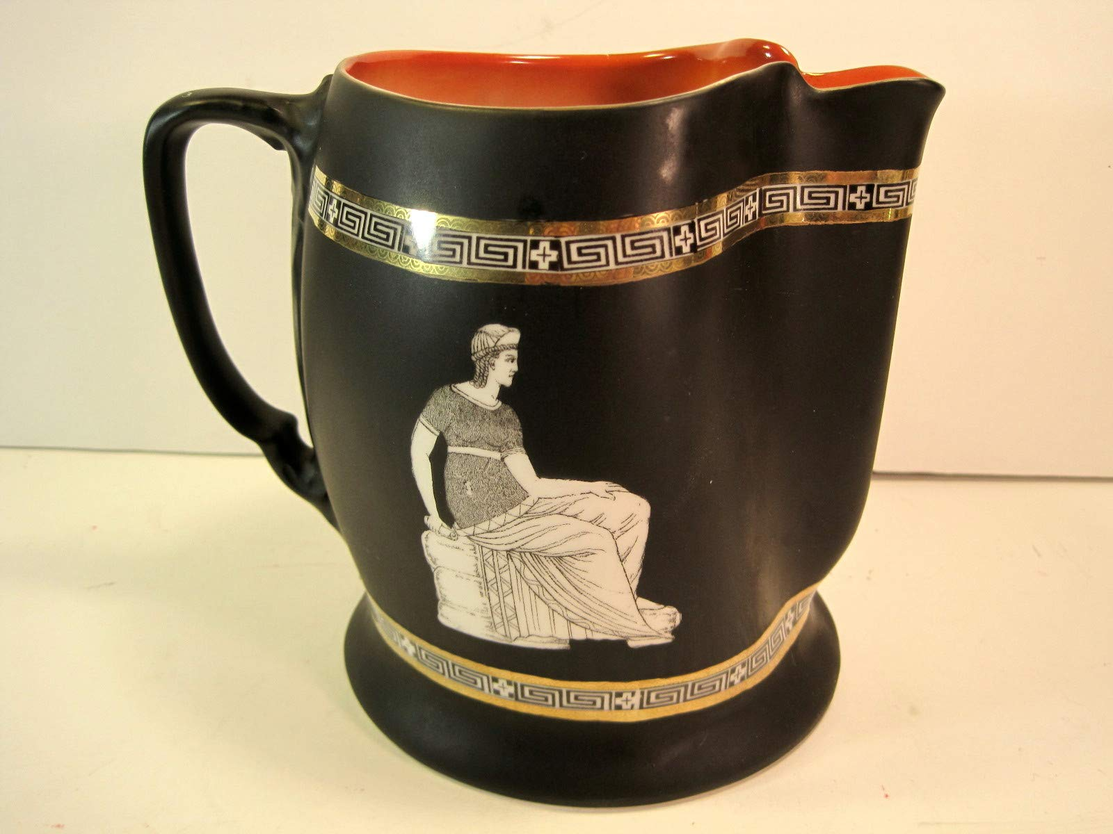 Royal Bayreuth Pitcher, Corinthian War, Antique, 1890-1908, Black Matte, 6 Inches