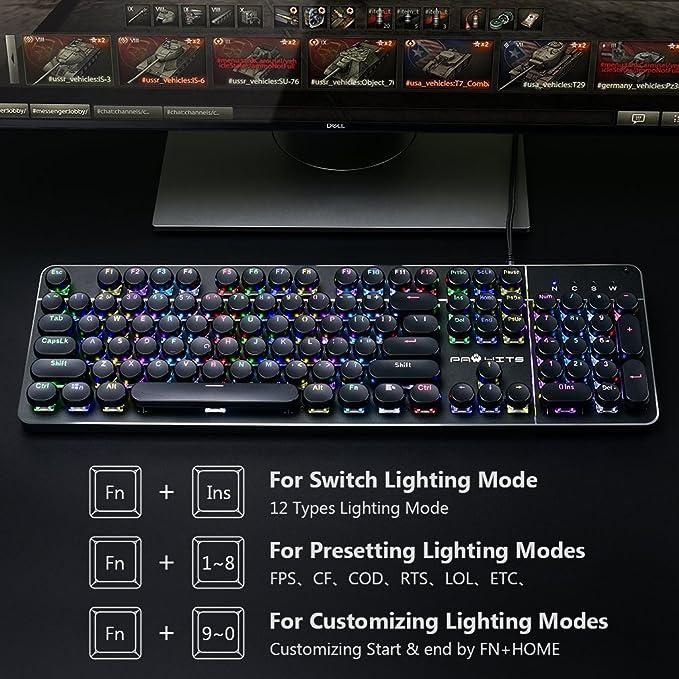 PAWHITS RGB Teclado Mecánico Gaming USB con Cable 104 Teclas de la Disposición de los Estados Unidos Vintage Teclado de Máquina de Escribir: Amazon.es: ...