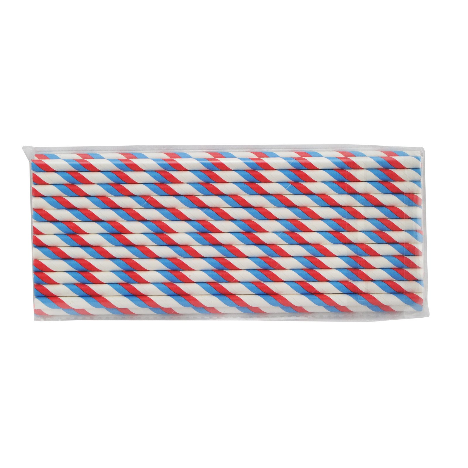 Zinnor Paper Stripe Straws,25 Pcs Paper Drinking Straws for Birthday Festival Party Table Decorations (Red Blue)