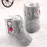 Koly Baby Girls Winter Warm Soft Sole Crib Button Flats Cotton Boot Toddler Prewalker Shoes