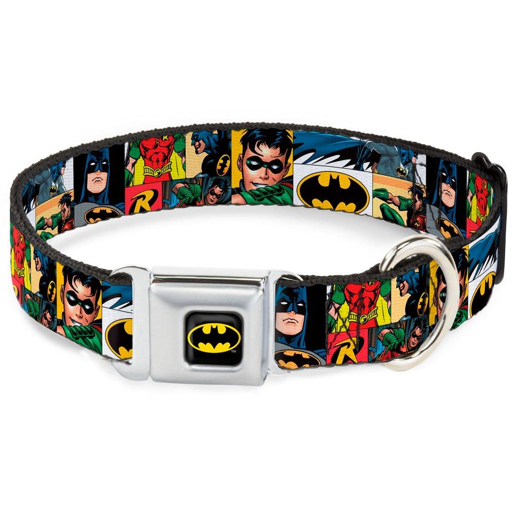 Batman & Robin Action Panels 1.5\ Batman & Robin Action Panels 1.5\ Buckle-Down DC-WBM057-WM Dog Collar Seatbelt Buckle, Batman & Robin Action Panels, 1.5  by 16-23