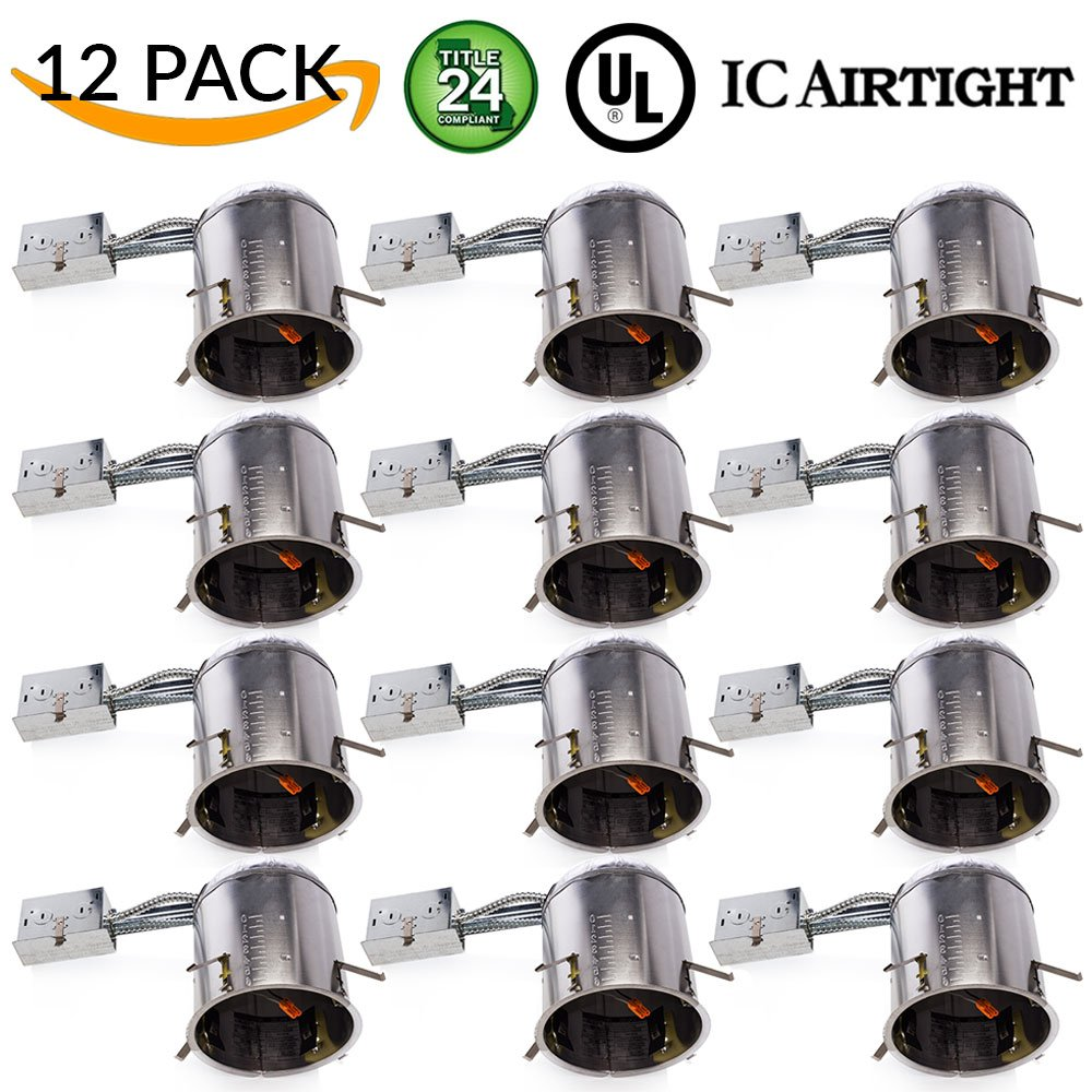 Sunco Lighting 12 PACK - 6'' inch Remodel LED Can Air Tight IC Housing LED Recessed Lighting- UL Listed and Title 24 Certified by Sunco Lighting