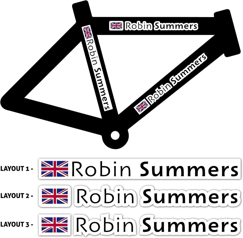 4x 14mm Custom Personalised Name Flag ICE for Bike frame or helmet.