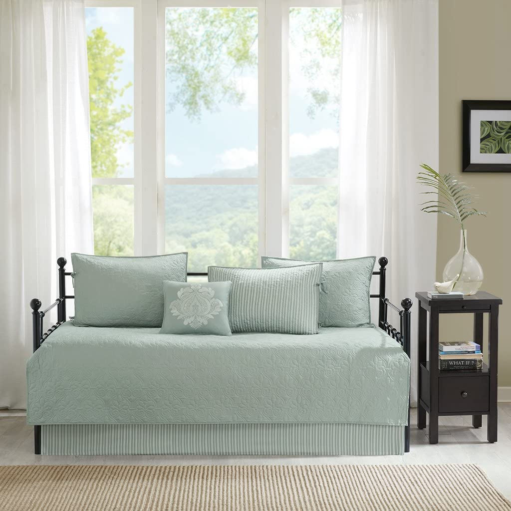 Madison Park Quebec Daybed Size Quilt Bedding Set - Seafoam, Damask – 6 Piece Bedding Quilt Coverlets – Ultra Soft Microfiber Bed Quilts Quilted Coverlet