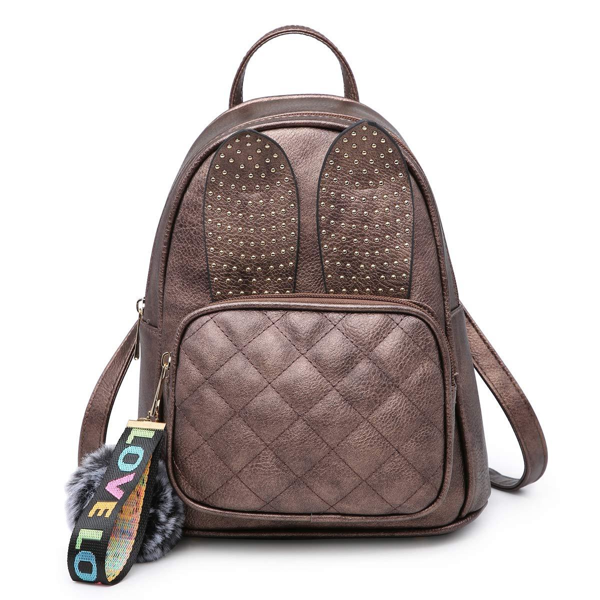Girls Rabbit Ear Cute Mini Leather Backpack, XB Small Backpack Purse for Women Fashion Shoulder Bag (Bronze)