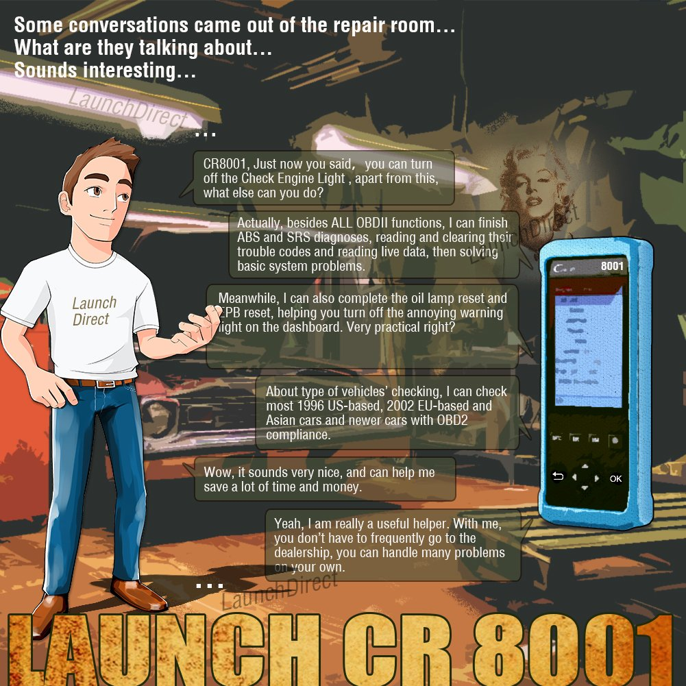 LAUNCH Creader 8001 Auto Diagnostic Scan Tool OBDII OBD2 ABS SRS Scanner Code Reader Oil/EPB Reset with TPMS Activation Tool by LAUNCH (Image #5)