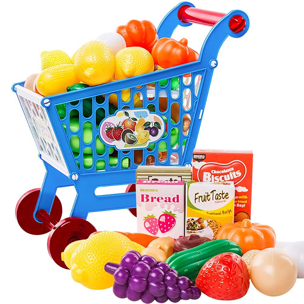 Timall 17PCS Shopping Cart with Grocery Food Toy Playset Educational Toy Shopping Cart Supermarket Playset Pretend Food Accessories Perfect for Kids Children Birthday Gift by Timall