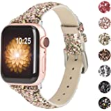 Moolia Glitter Band Compatible with Apple Watch Band 38mm 40mm, Sparkly 3D Bling Leather Band Wristband Replacement for…