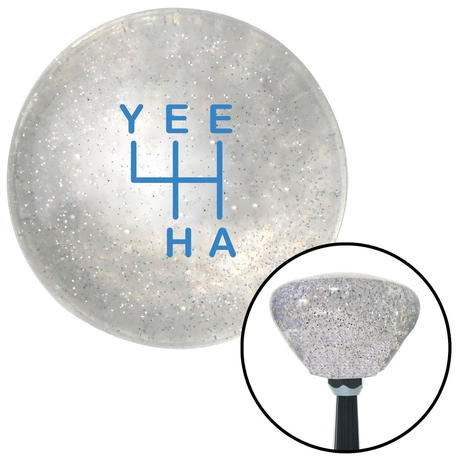 Blue YeeHa 4 Speed Clear Retro Metal Flake American Shifter 301993 Shift Knob