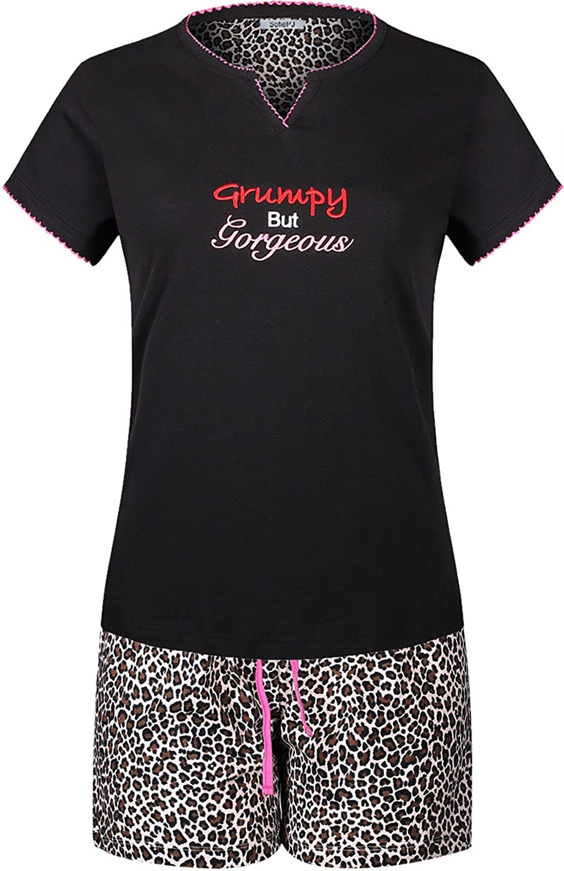 Brown Black SofiePJ Women's Printed Cotton Short Sleeve Pajama Set with Short Pants