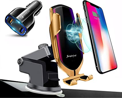 Fast Charging Wireless Car Charger Smart IR Mai 10W Qi Note 10 Auto-Clamping Car Mount Windshield Dashboard and Air Vent Phone Holder Compatible with iPhone 11 XS MAX//XR//X//8 Samsung S10//S9//S8