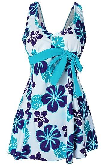 1e93b4b78306 Hungo Damen Push Up Badeanzug Schwimmanzug Badekleid Einteiler mit Röckchen