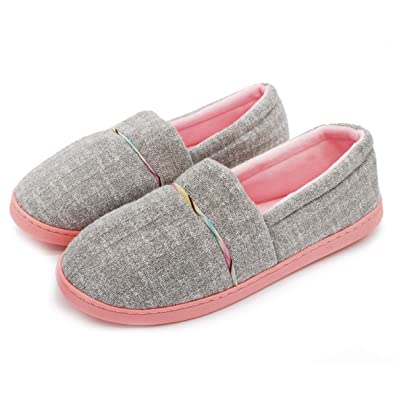 6d8f44e51 Moodeng Ladies Slippers Comfortable Cotton Knit Non Slip House Slipper  Washable Memory Foam Home Shoes for