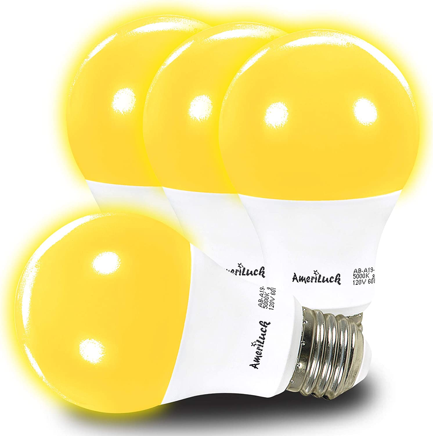 AmeriLuck 4-Pack Yellow Color A19 LED Bug Mosquito Light Bulb, 60W Equivalent (7W), Waterproof for Outdoor Use