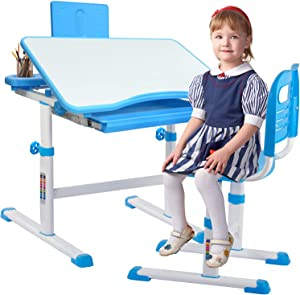 Staruto Kids Desk and Chair Set, Home School Use Height Adjustable Kids Table and Chair Set with Tiltable Anti-Reflective Reading Board/Pull-Out Storage Drawer/Pencil Case/Bookstand (Blue)