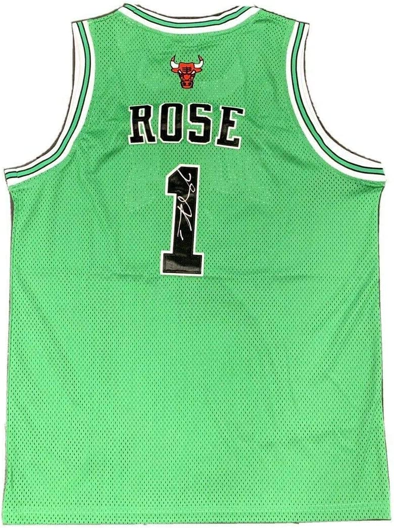 Derrick Rose Signed Chicago Bulls (St Patrick's Day) Jersey JSA - Autographed NBA Jerseys