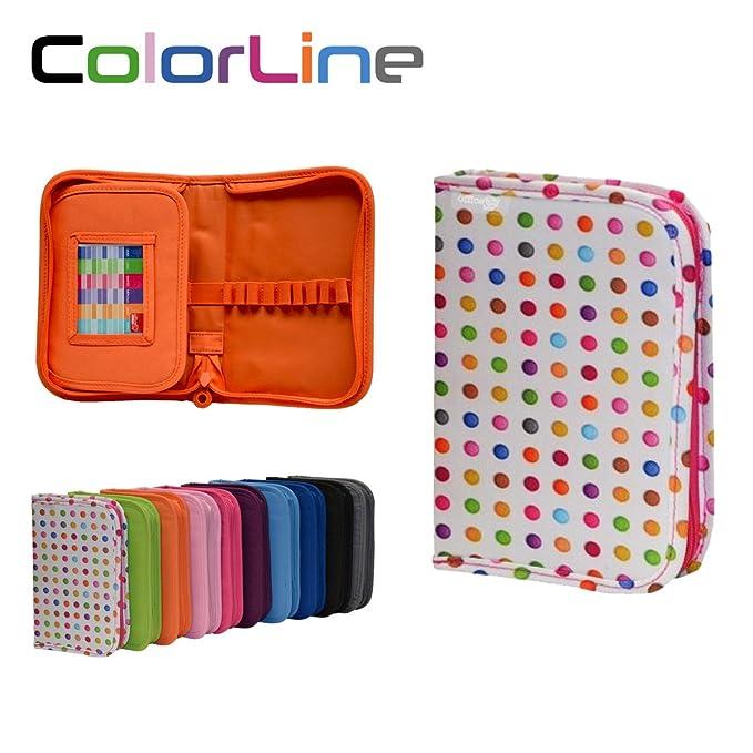 Colorline 58211 - Estuche Portatodo Classic con 28 Apartados de Goma Elástica para Colocar Individualmente los Útiles Escolares. Color Puntos Colores, ...