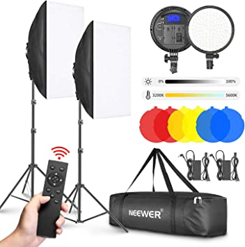 Neewer 2-Pack 2.4G LED Softbox Light Kit