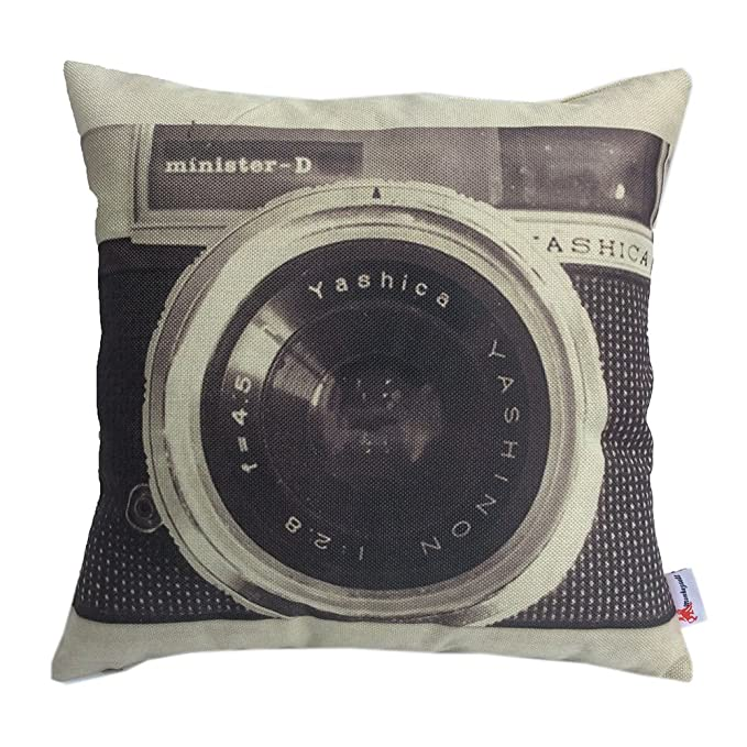 Monkeysell Retro Camera Patterns Cotton Linen Decorative Throw Pillow Covers Pillow Case Cushion Cover Body Pillowcovers 18 x 18 Inches 1pc Pillow Cover
