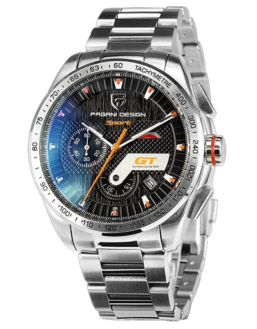 Pagani Design Black Dial Motor Sport Diving Mens Multifunction Tachymetre Chronograph Silver Wrist Watch by Fanmis