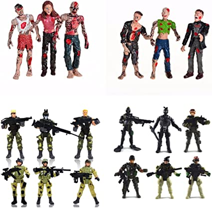 Plastic Policeman Set With Helicopter Boat Police Army Men SWAT Guys and more!