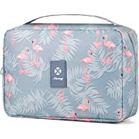 Hanging Travel Toiletry Bag Cosmetic Make up Organizer for Women and Girls Waterproof (A-Flamingo)