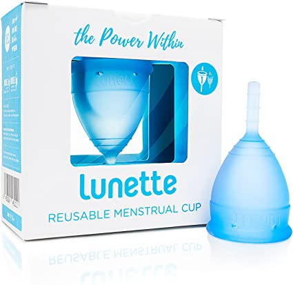 Lunette Copa menstrual reutilizable - Azul - Modelo 1 para flujo ligero (EN versión)