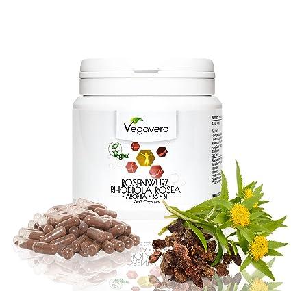 Vegavero Rhodiola Rosea | con Rosavin + Aronia + B6 + B1 | 365 cápsulas |