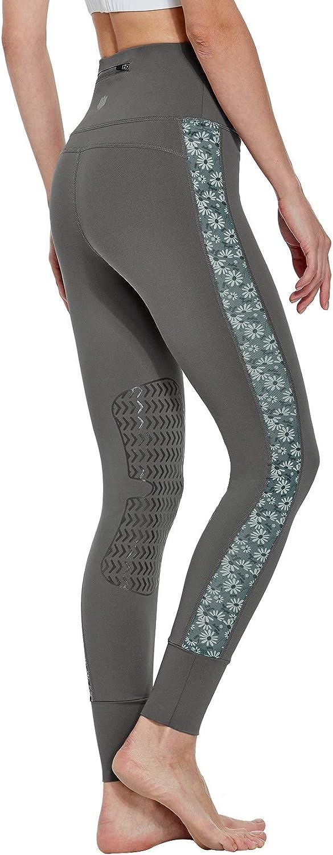 FitsT4 - Mallas de equitación para mujer con ribete de silicona en las rodillas y bolsillo para cinturón, mallas elásticas con tejido de malla impreso en la pernera para equitación