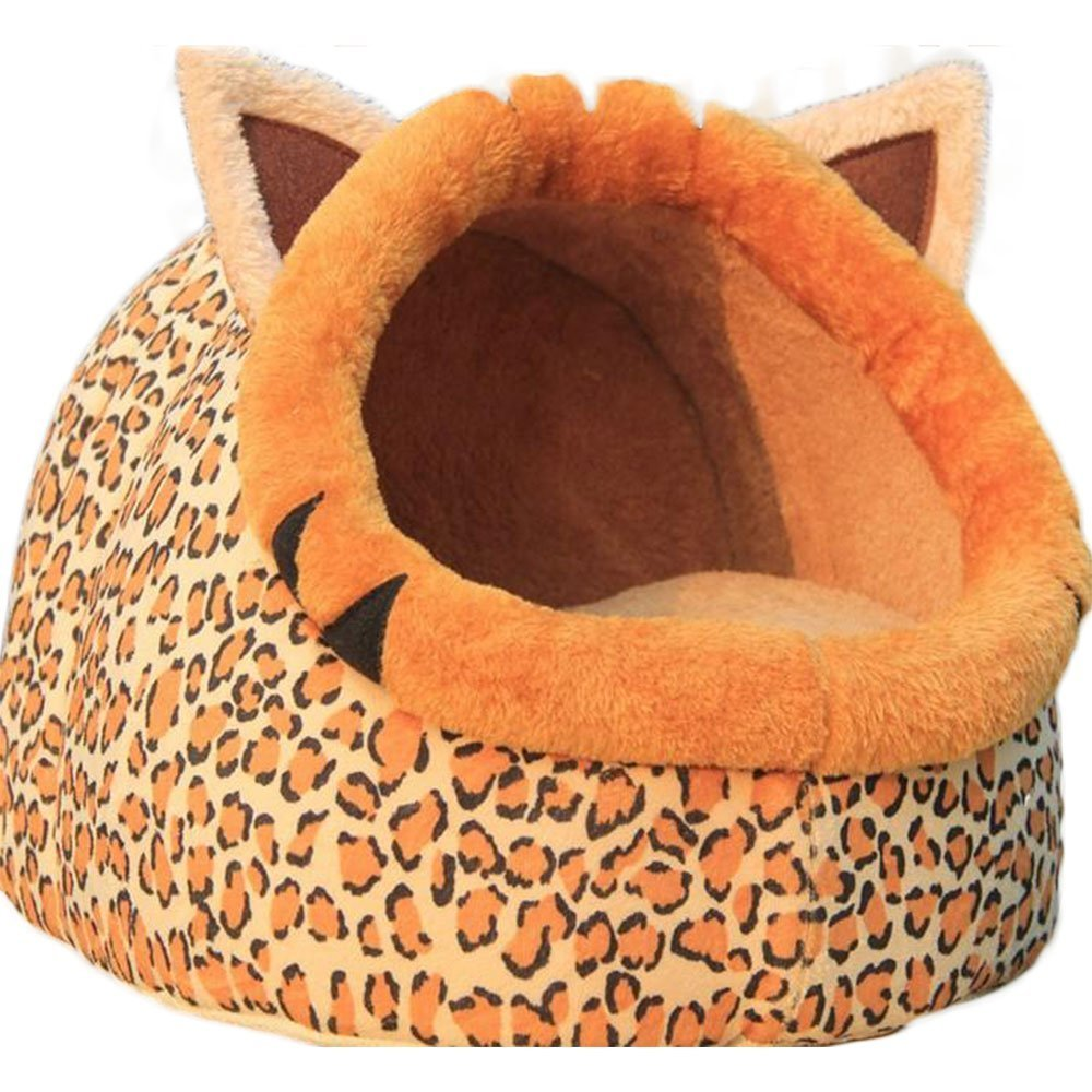 Fashion and Unique Dog Cat Pet House Bed Indoor Doghouse Bed Cute Soft Puppy Rabbits Cave Mat Cushion for Small Animal Hut Sponge (L,Cheetah)