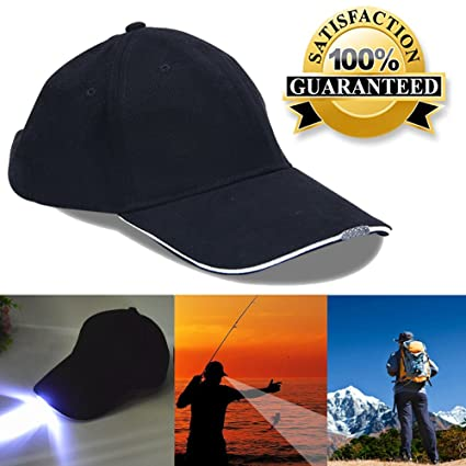 Angelsport Baseball Hat Night Fishing Cap With Head Light 4 High Brightness LED LampPD