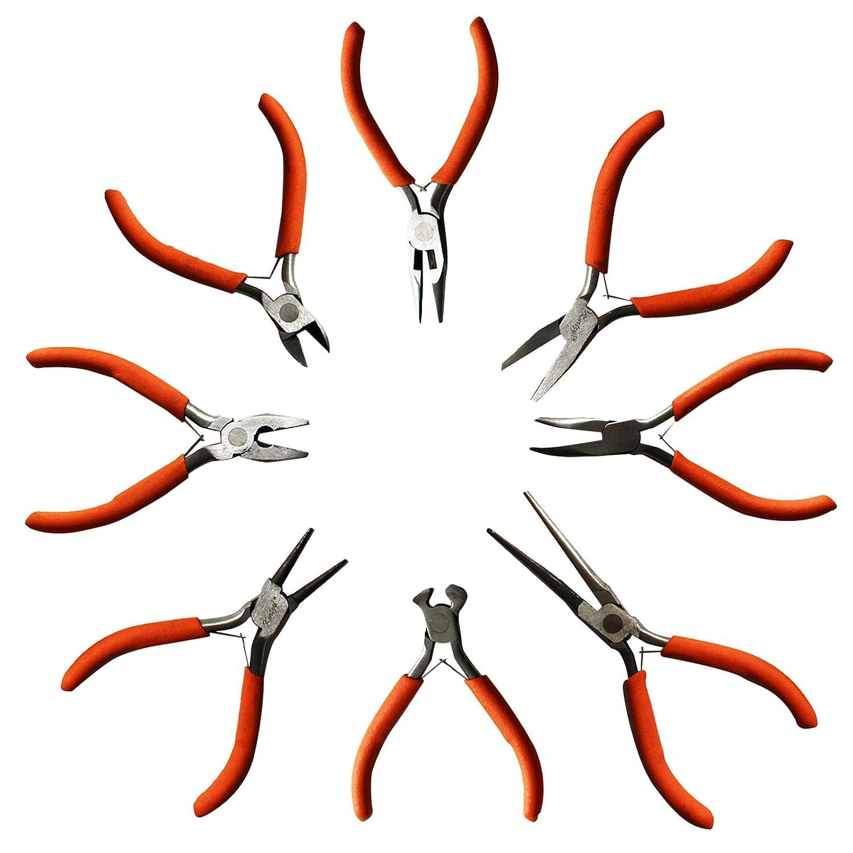 Ensemble de 8 Paires de Pinces par Kurtzy - Pince Coupante, Pince Plate, Pince à Bec Rond et plus- Kit d'Outils Très Résistant pour les Travaux d'Électricité et de Menuiserie, le Bricolage et la Fabrication de