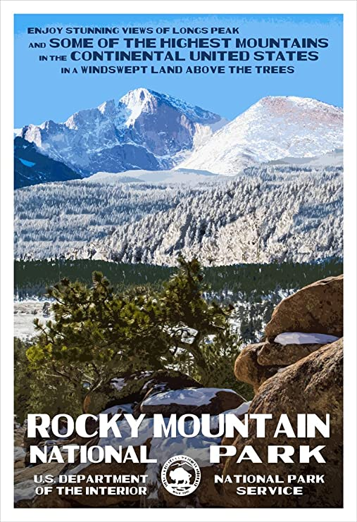 Rocky Mountain National Park WPA-Style Vintage Travel Poster 12x18 Colorado