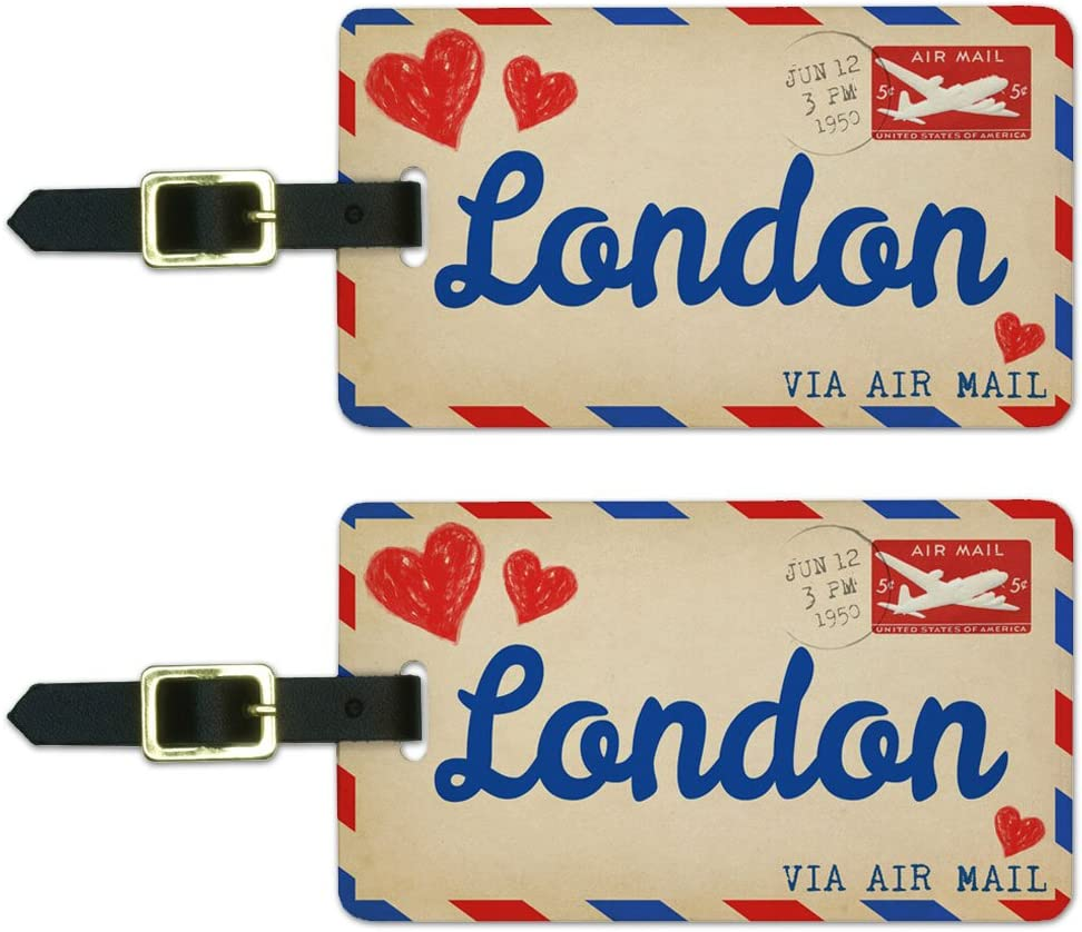 Graphics & More Air Mail Postcard Love for London Luggage Suitcase Carry-on Id Tags, White