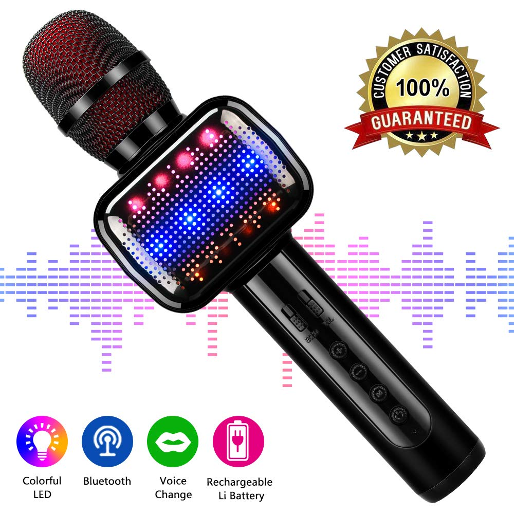 Karaoke Microphone, Microphone Wireless Kids Microphones with Bluetooth Speaker Portable Handheld Toy Karaoke Machine Music Sing Mic for Girl Boy Child Home Party KTV Outdoor by LEERON