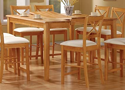 Coaster Dining Table With Butterfly Leaf, Counter Height, Maple Wood Finish    Chairs Not