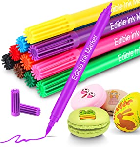 Fanika Food Coloring Edible Markers, 10pcs Double Sided Food Grade Pens and Edible Marker for Decorating Fondant, Cakes, Cookies, Frosting, Easter Eggs, Thick Tip and Fine Tip