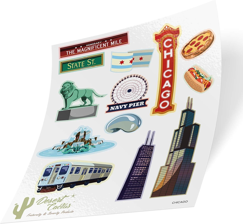 City of Chicago Full Sheet Sticker Vinyl Decal Laptop Water Bottle Car Scrapbook (Full Sheet)